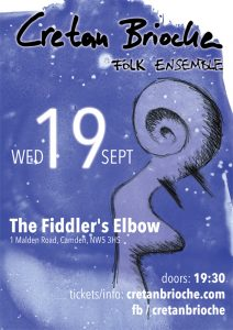 poster for our gig at the Fiddler's Elbow